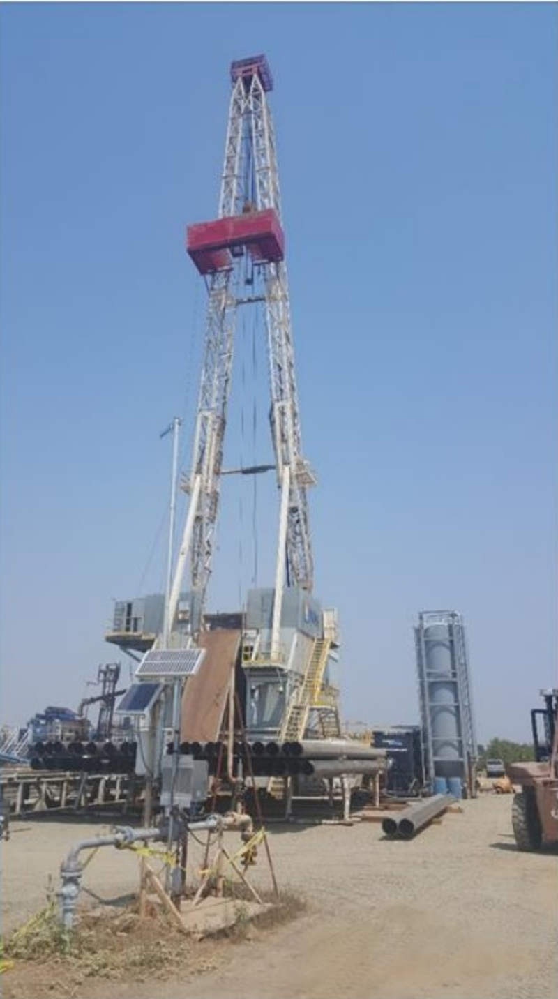 Dempsey gas field was appraised with the drilling of an appraisal well using the Paul Graham rig No. 9. Image courtesy of Sacgasco Limited.