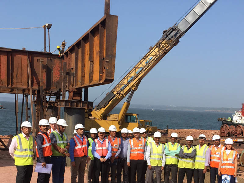 H-Energy started construction of a jetty as part of its LNG re-gasification project at Jaigarh Port in Maharashtra on 27 February 2017. Credit: H-Energy.