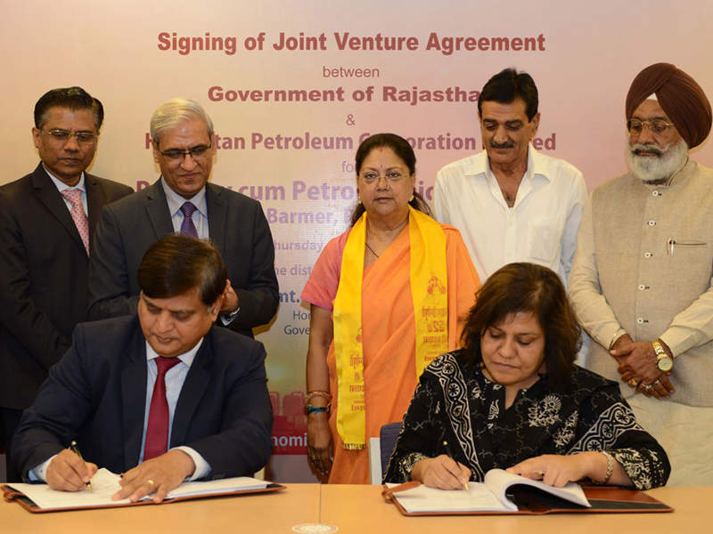 The Government of Rajasthan and HPCL signed a new joint venture (JV) agreement for the development of Barmer refinery in August 2017. Credit: www.VasundharaRaje.in.
