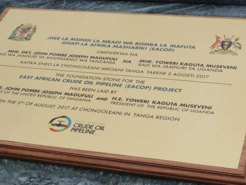 The foundation stone for the pipeline was laid at Chongoleani in Tanzania in August 2017 and at Hoima, Uganda, in November 2017. Image courtesy of Total.