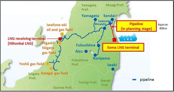 Map showing the proposed LNG terminal and 40km pipeline in Fukushima Prefecture.