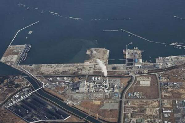Aerial view of the Soma LNG terminal construction area.