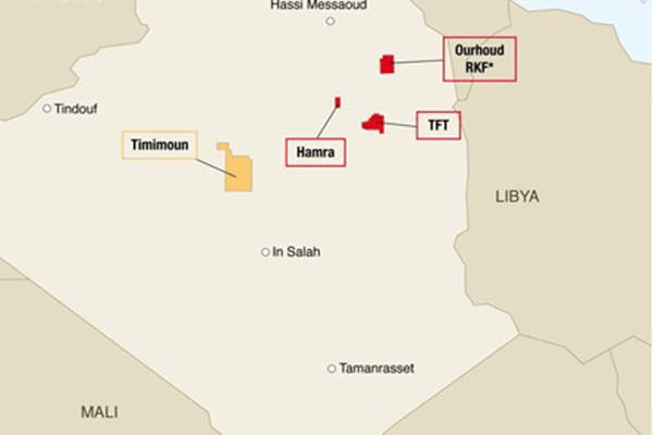 The field is located between Timimoun and Adrar regions in south-western Algeria.