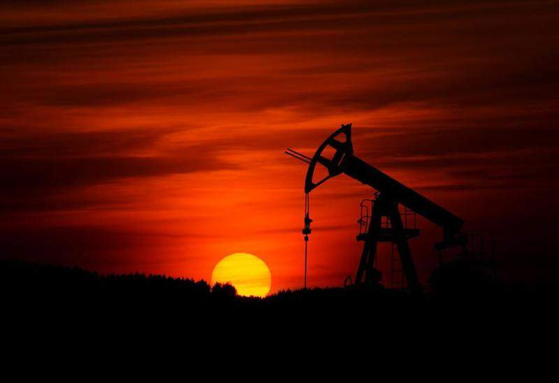 oilfield at sunset