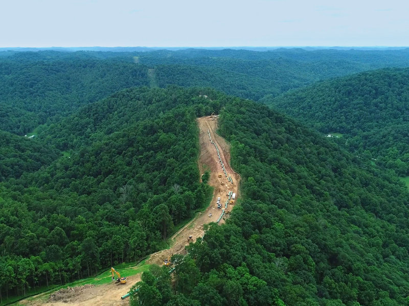 The 274km-long Mountaineer Xpress natural gas pipeline is located in West Virginia, US. Image courtesy of TransCanada.