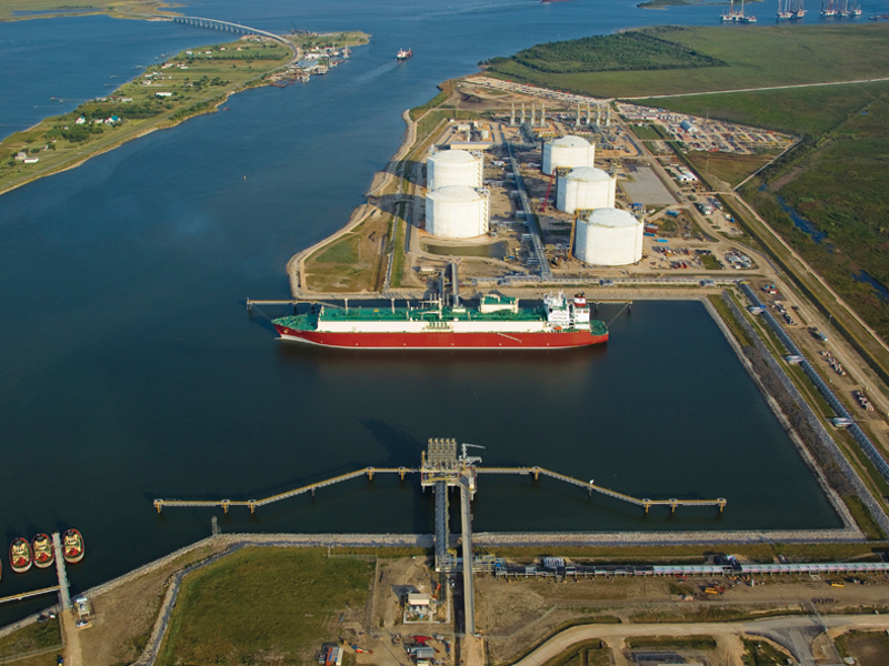 Golden Pass LNG terminal is located on 900ac on the Sabine-Neches ship channel, across from Pleasure Island in Texas. Image courtesy of Golden Pass Products LLC.