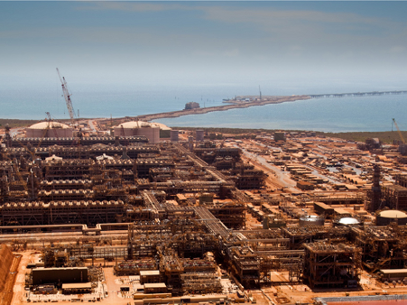 The 15.6mtpa Gorgon LNG facility is located at the Barrow Island, Western Australia. Image courtesy of Chevron.