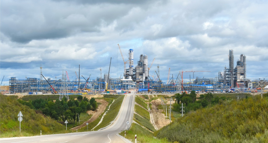 Amur gas processing plant is being constructed in the Svobodnensky District of Russia to be the biggest natural gas processing facilities in the world. Credit: Gazprom.
