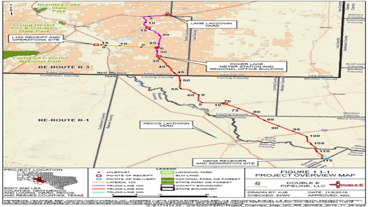 The Double E Pipeline project will be developed as an interstate pipeline between New Mexico and Texas. Credit: Double E Pipeline, LLC.
