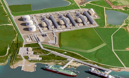 Artist's impression of Corpus Christi Liquifaction plant