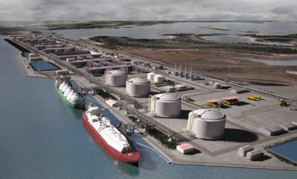 The proposed Rio Grande LNG facility looking west along the Brownsville ship channel