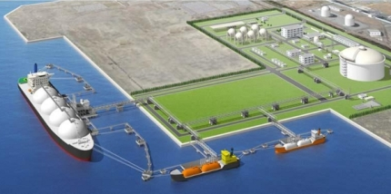 Aerial view of Soma LNG Terminal